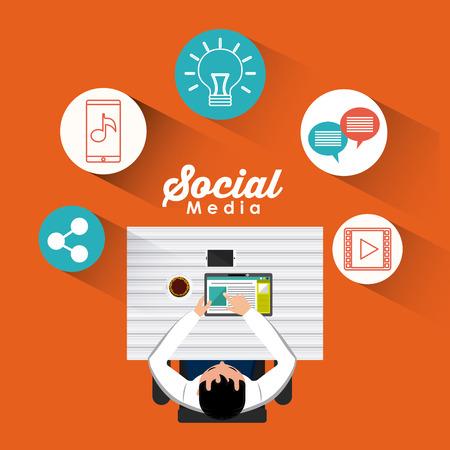online business: mobile social media flat icons vector illustration design Illustration