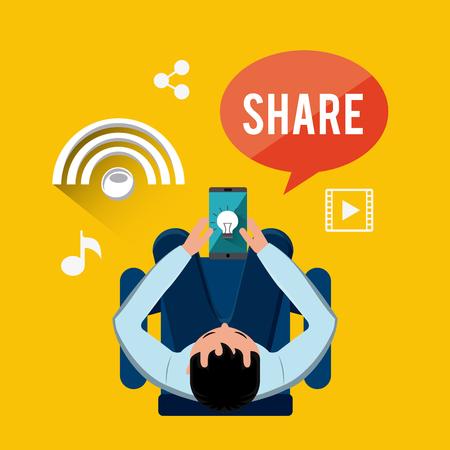 business media: mobile social media flat icons vector illustration design Illustration
