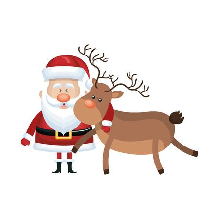 Weihnachtsmann mit Hirsch Cartoon. Weihnachtszeit Symbol. Vektor-Illustration