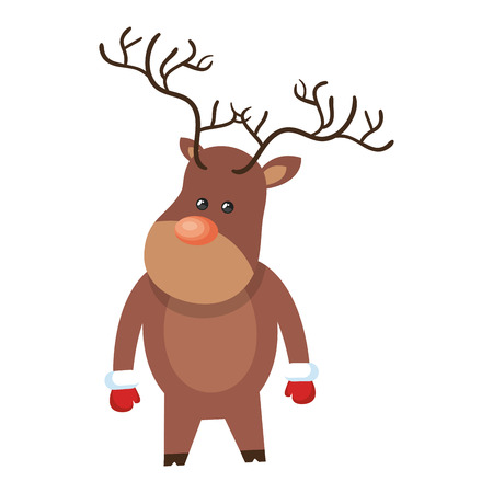 red nose: christmas brown reindeer with red nose cartoon. vector illustration