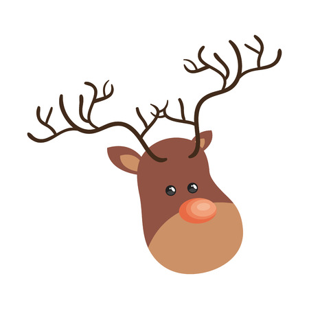 nariz roja: christmas brown reindeer with red nose cartoon. vector illustration