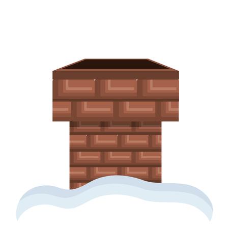 Komin z cegły z białego śniegu. elementem domu. ilustracji wektorowych