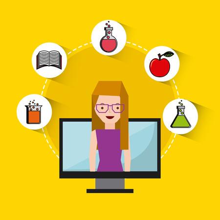 data science online flat icons vector illustration design