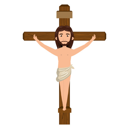 crucified: jesus christ man crucified on the cross cartoon. catholic religion. vector illustration Illustration