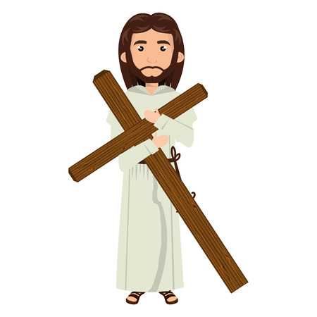 jesus christ man with cross wooden cartoon. catholic religion. vector illustration