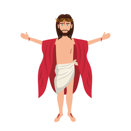 open arms: jesus christ man with open arms cartoon. catholic religion. vector illustration Illustration
