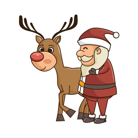 red nose: santa claus cartoon with brown deer with red nose. christmas season symbol. vector illustration