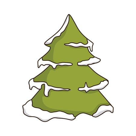 larch: green pine tall tree with snow. winter season nature. vector illustration Illustration