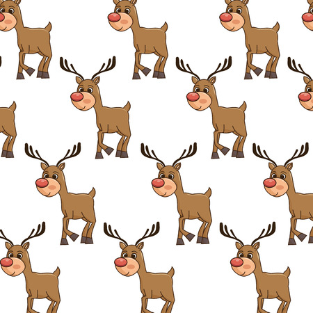 red nose: brown reindeer smiling with red nose cartoon. christmas symbol background. vector illustration
