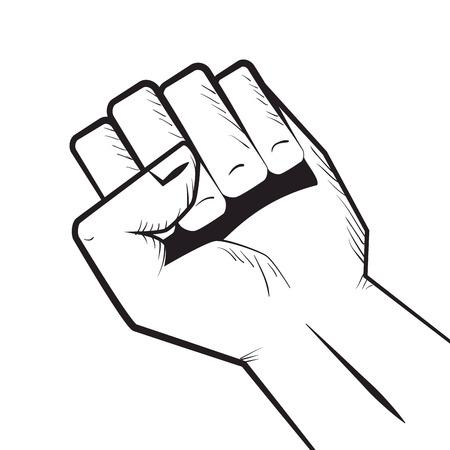 human hand closed fist. gesture signals. vector illustration