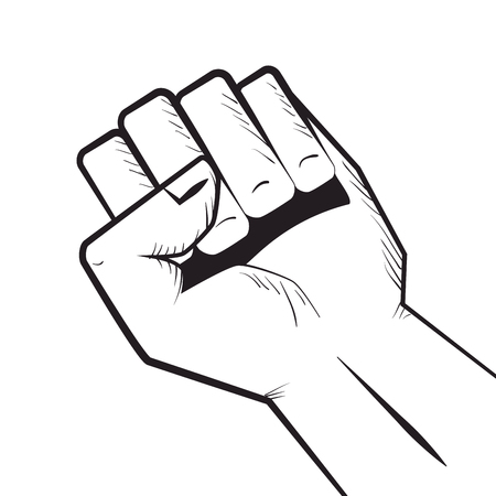 closed fist: human hand closed fist. gesture signals. vector illustration
