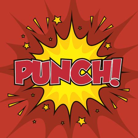 boxeo punzón arte pop ilustración vectorial aislado
