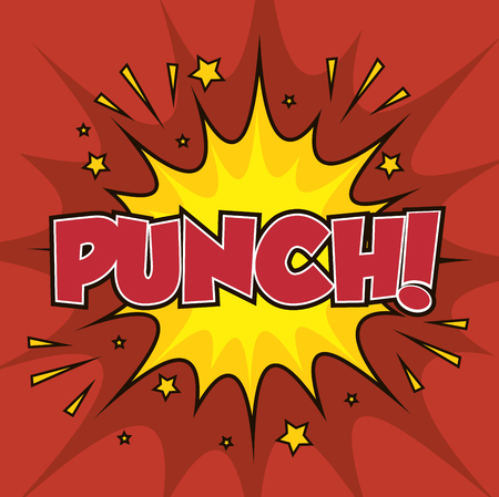 boxing punch pop art isolated vector illustration