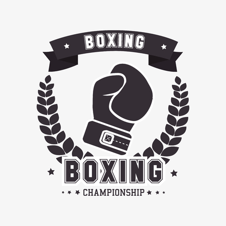prevalence: boxing gloves punch isolated vector illustration Illustration