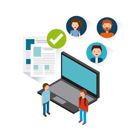 job opportunity: job opportunity online flat icons vector illustration design