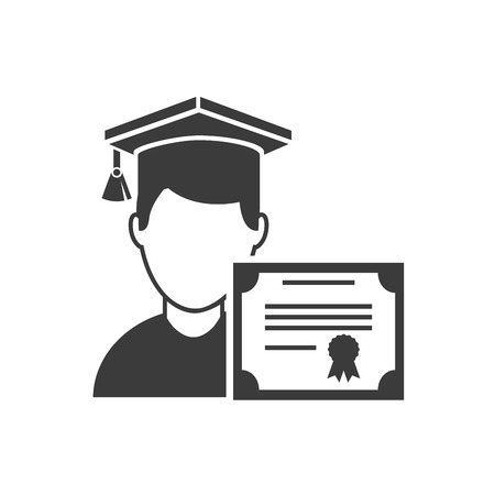 certificated: graduation certificated with school icon vector illustration design