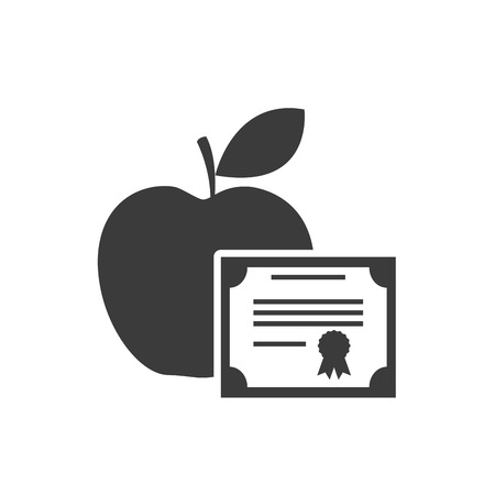 master degree: graduation certificated with school icon vector illustration design