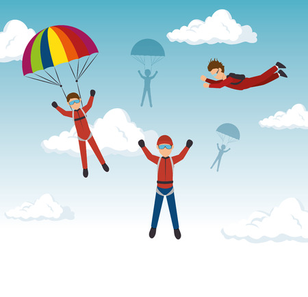 skydiving: extreme sports skydiving design isolated vector illustration eps 10 Illustration