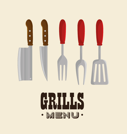 hot dog label: set grills menu tools design isolated vector illustration eps 10 Illustration