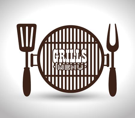 grills menu beef beer design isolated vector illustration eps 10 Illustration