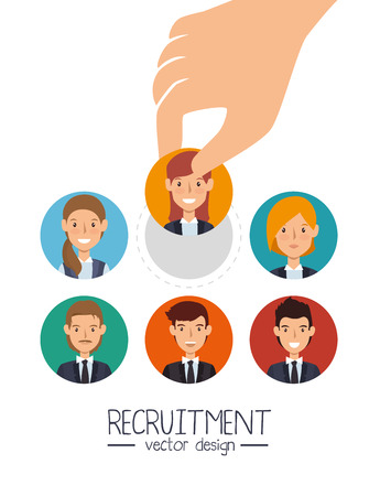 recruit: hand human resorces recruit desing isolated vector illustration eps 10