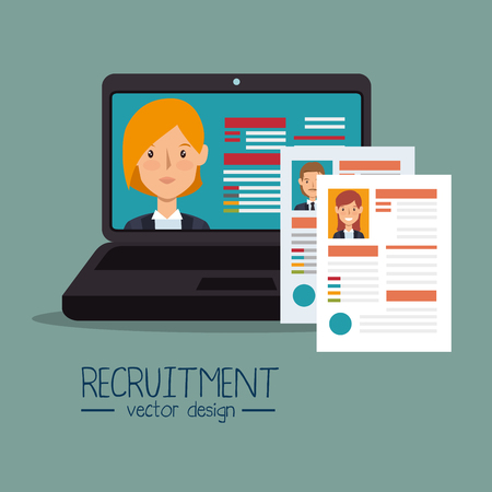 recruit: virtual human resources recruit design isolated vector illustration eps 10 Illustration