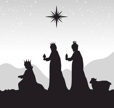 silhouet kribbe vrolijke kerst ontwerp ontwerp vector illustratie eps 10 Stock Illustratie