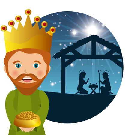 god's cow: three wise kings manger design design vector illustration eps 10