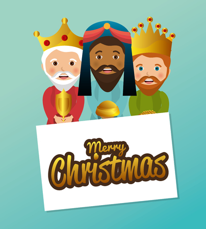 lamb of god: three wise kings manger design design vector illustration eps 10