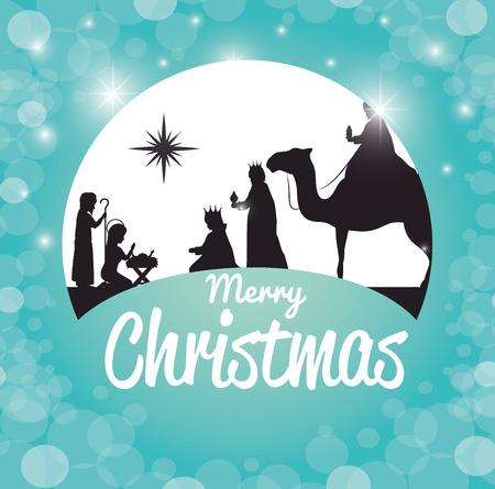 silhouette manger merry christmas design design vector illustration eps 10