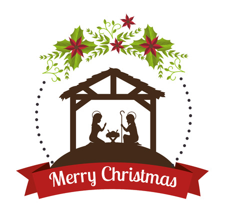 silhouette manger merry christmas design design vector illustration eps 10