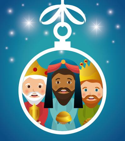 santa cena: tres reyes magos, ilustración, diseño pesebre diseño del vector EPS 10