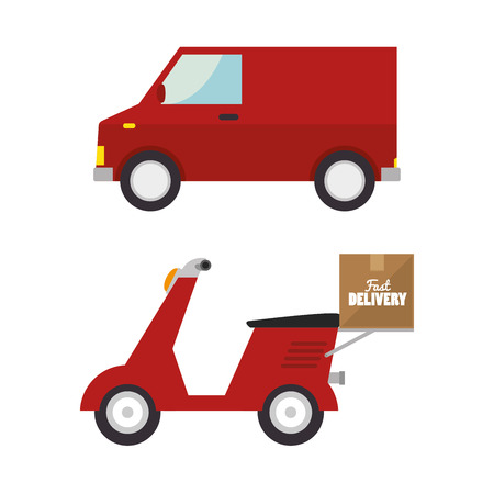 delivery truck red van transporting design isolated vector illustration eps 10