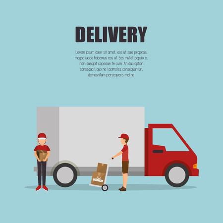 transporting: delivery truck red van transporting design isolated vector illustration eps 10