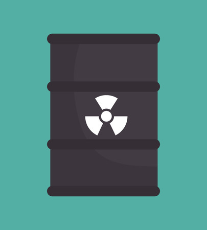 radioactive tank and warning sign: barrel nuclear radiation design isolated vector illustration eps 10