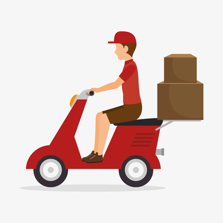 man delivering boxes design isolated vector illustration eps 10