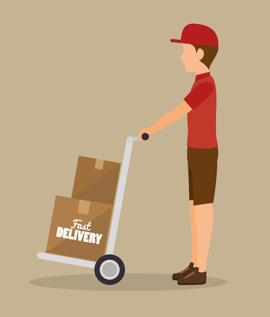 delivering: man delivering boxes design isolated vector illustration eps 10