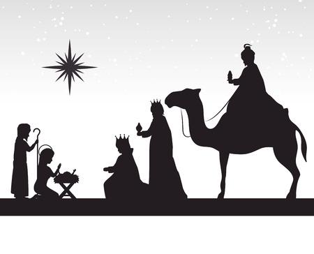 Het silhouet van drie wijze koningen manger ontwerp geïsoleerd vector illustratie eps 10