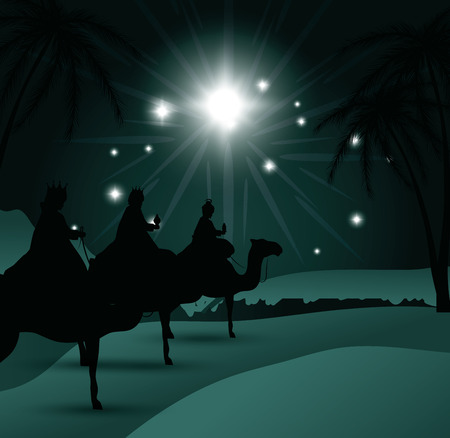 lamb of god: silhouette three wise kings manger design isolated vector illustration eps 10
