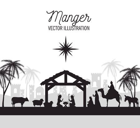 silhouet kribbe prettige kerst dagen geïsoleerd ontwerp vector illustratie eps 10