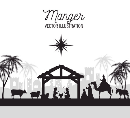 nativity: silhouette manger merry christmas isolated design vector illustration eps 10