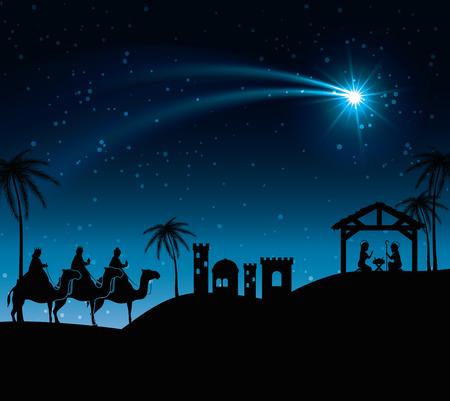 myrrh: silhouette three wise kings manger design isolated vector illustration eps 10