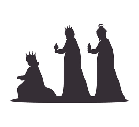 silhouette three wise kings manger design isolated vector illustration eps 10