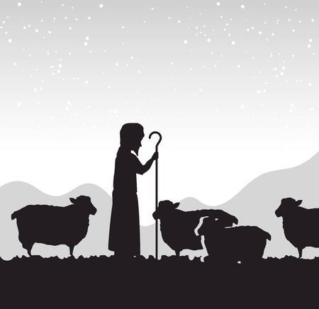 silhouette shepherd sheep manger isolated design vector illustration eps 10 Illustration