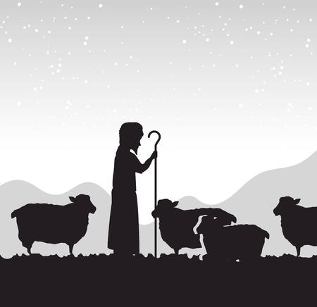 silhouette shepherd sheep manger isolated design vector illustration eps 10 Vettoriali