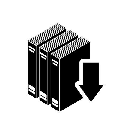 e reading: book with arrow download icon vector illustration design