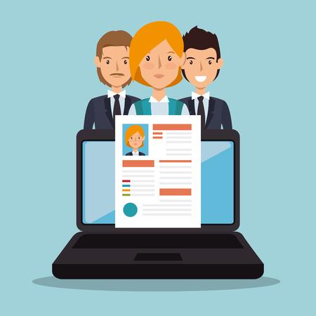 laptop curriculum recruitment design vector illustration eps 10 Illustration