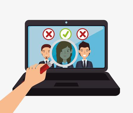 digitale recruitment medewerker ingehuurd geïsoleerde vector illustratie eps 10 Vector Illustratie