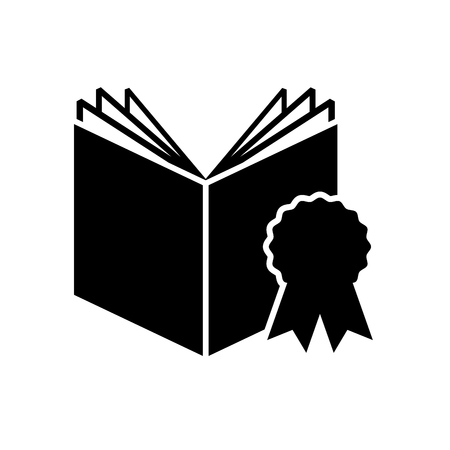 textbook: textbook with medal icon vector illustration design Illustration
