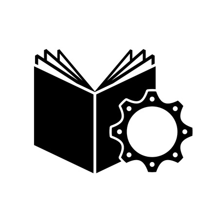 textbook: textbook with gear icon vector illustration design